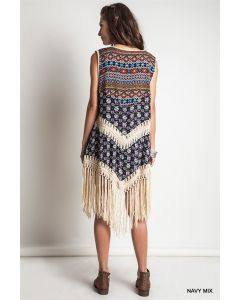 Aztec Print Vest-Navy-Medium