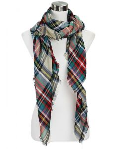 Over-sized Plaid Scarf-Beige