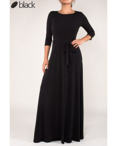 Simple Maxi Dress-Black-Medium