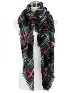 Over-sized Plaid Scarf-Black