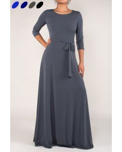 Simple Maxi Dress-Grey-Small