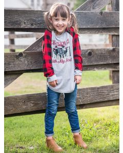Christmas with My Herd Girl's Tee-8-10 yrs