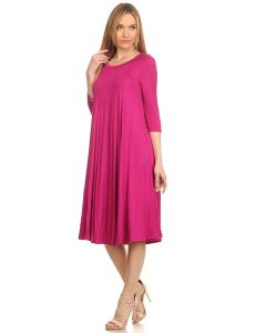 Swing Dresses-Fuchsia-Small