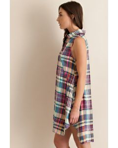 Spring Vibe in Plaid-Blue-Large