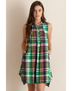 Spring Vibe in Plaid-Green-Small