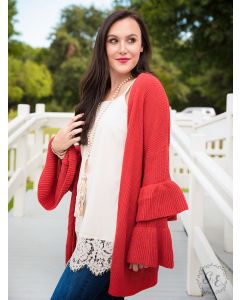 Double Trouble Ruffle Cardigan-Orange-S/M