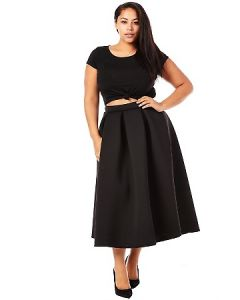 Scuba Pleated Midi Skirt-Black-3X