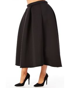Scuba Pleated Midi Skirt