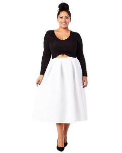 Scuba Pleated Midi Skirt-White-3X