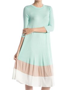 Color-Blocked Midi Dress-Mint-Large