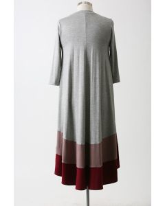 Color-Blocked Midi Dress-Cranberry-Large