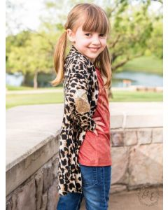 Gold Patch Leopard Cardigan-6-7 yrs