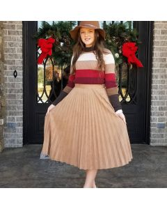 Vegan Suede Accordion Skirt-Brown