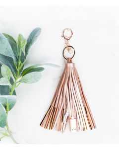 Rose Gold Tassel Keychain with Phone Charging Cable