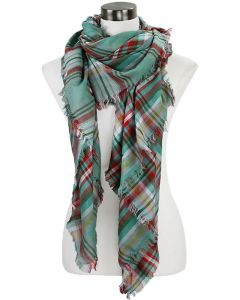Over-sized Plaid Scarf-Mint