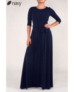 Simple Maxi Dress-Navy-Small