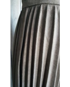 Vegan Suede Accordion Skirt-Grey