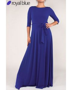 Simple Maxi Dress-Blue-Small