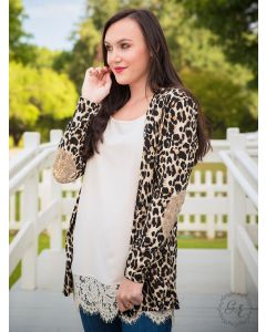 Gold Patch Leopard Adult Cardigan-Medium