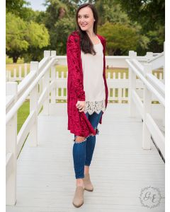 So Chic Velvet Duster-Red-S/M