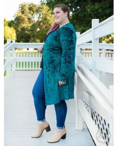 So Chic Velvet Duster-Teal-S/M