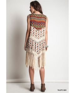 Aztec Print Vest-Taupe-Small